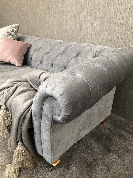 Gosford Silver Fabric 3 Seater Chesterfield Sofa