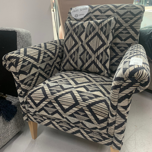 York Accent Chair in Geo Print - Express Delivery