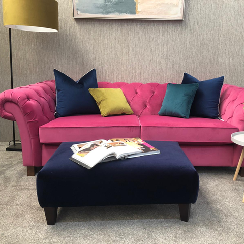 Hot Pink Velvet Buttoned Large 3 Seater Sofa - Express Delivery