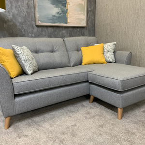 IN STOCK - Malo Collection Compact Corner Sofa with Reversible Chaise - Norfolk Grey
