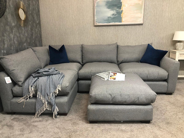 Finley Collection Corner Sofa with Footstool in Sweet Granite  - Express Delivery