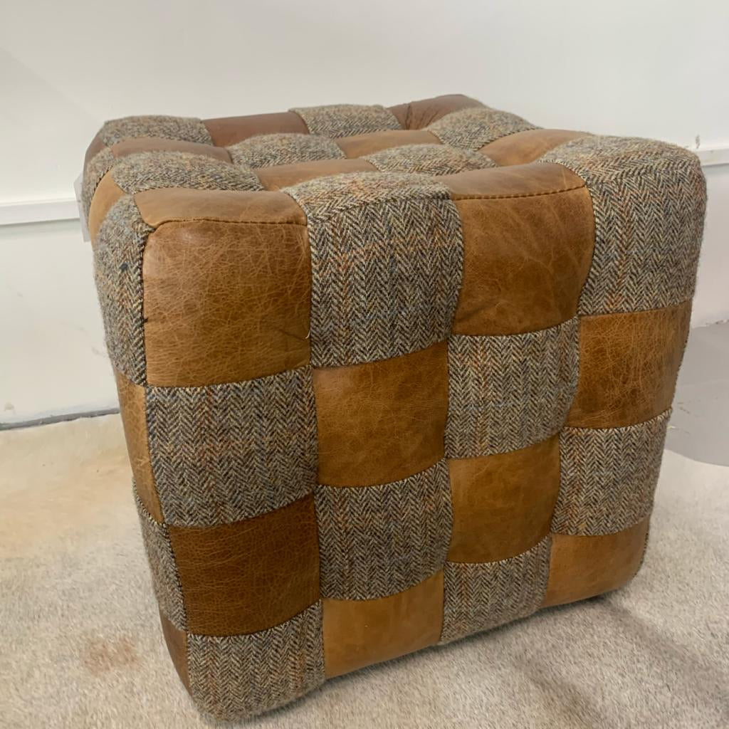 Harris Tweed & Leather Patchwork Stool