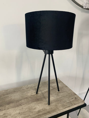 Tripod Table Lamp - Matt Black Velvet Shade