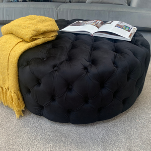 Round Buttoned Footstool in Black Velvet - Express Delivery