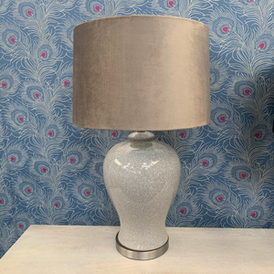 Olivia Ceramic Table Lamp with Natural Velvet Shade