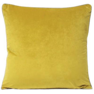 Meridian Velvet Cushion - Mustard/Grey