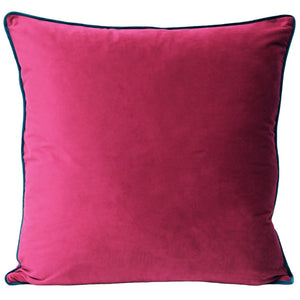 Meridian Velvet Cushion - Raspberry/Teal