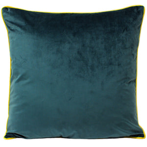 Meridian Velvet Cushion - Teal/Yellow