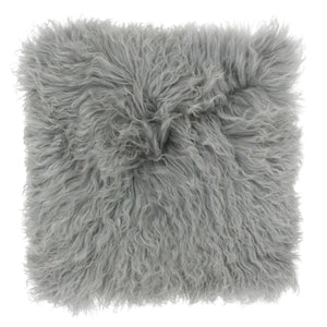 Mongolian Fluffy Wool Cushion - Glacier Grey