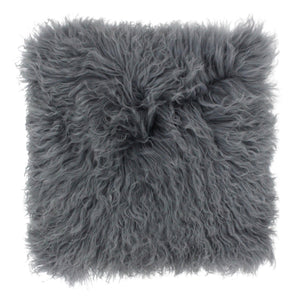 Mongolian Fluffy Wool Cushion - Dark Grey