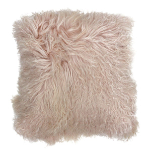 Mongolian Fluffy Wool Cushion - Blush