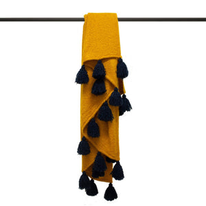 Romilly Tasselled Throw - Mustard/Navy