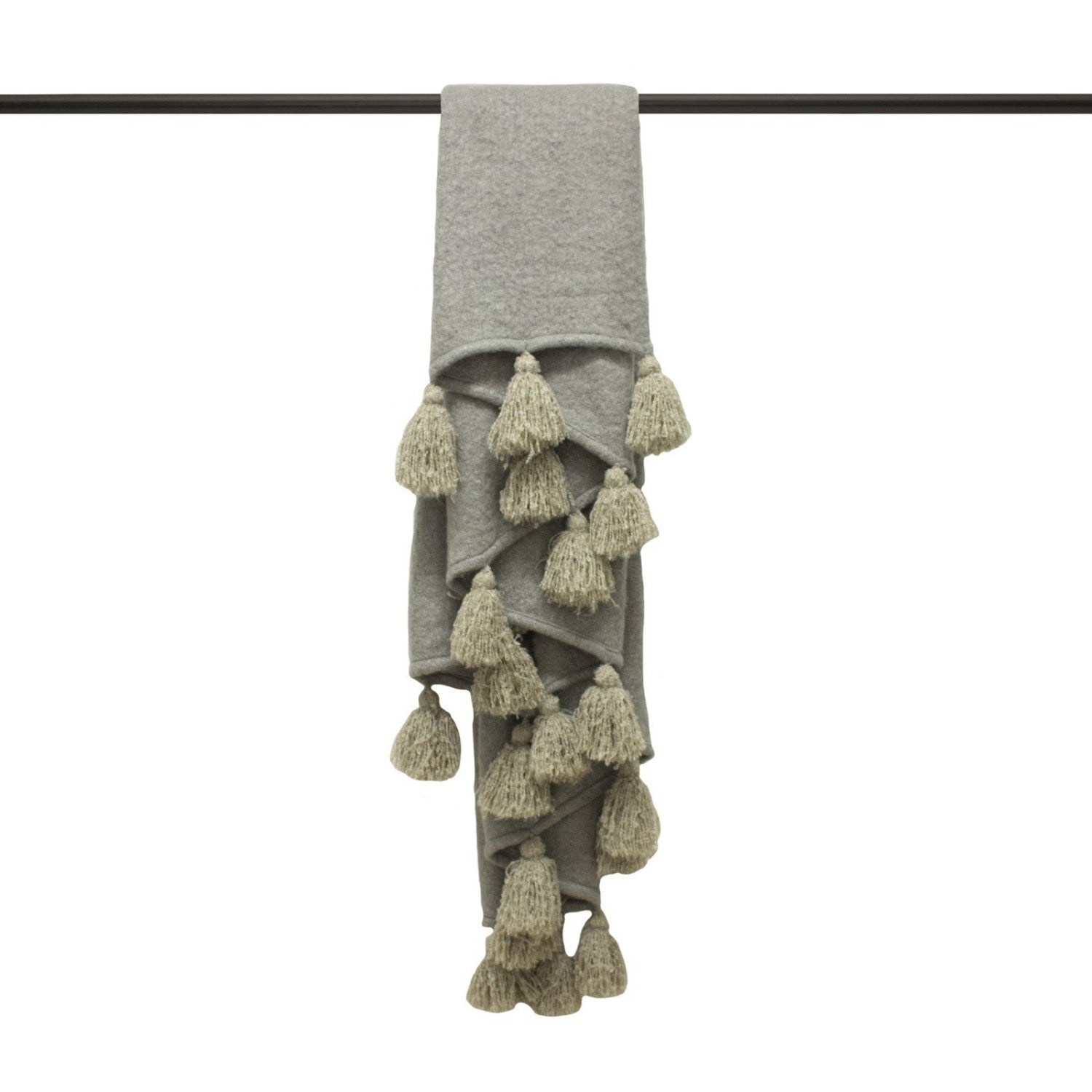 Romilly Tasselled Throw - Grey/Natural