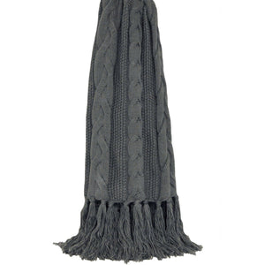 Santana Cable Knit Throw - Graphite Grey