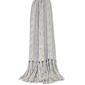 Santana Cable Knit Throw - Pale Grey