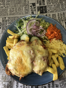Chicken Parma Chips and Salad