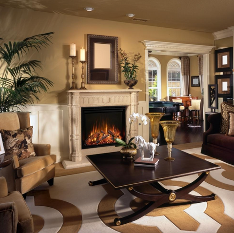 traditional electric fireplace with mantel