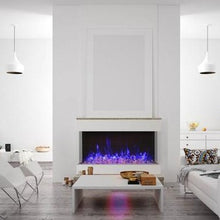 Load image into Gallery viewer, Amantii 50-Inch 3 Sided Glass 14'' Depth Electric Fireplace in White Interior Living Room | Very Good Fireplaces