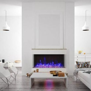 Amantii 50-Inch 3 Sided Glass 14'' Depth Electric Fireplace in White Interior Living Room | Very Good Fireplaces