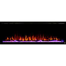 Load image into Gallery viewer, Black Touchstone Sideline Elite Recessed Electric Fireplace in combination of yellow, red, orange flame with purple crystals.
