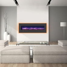 "Load image into Gallery viewer, Minimalist Living Room with Sierra Flame 60"" Wall Mount or Flush Mount Electric Fireplace with Steel Surround"