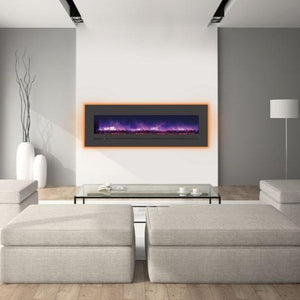 "Minimalist Living Room with Sierra Flame 60"" Wall Mount or Flush Mount Electric Fireplace with Steel Surround"