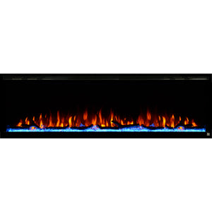 Black Touchstone Sideline Elite Recessed Electric Fireplace in combination of orange, yellow flame with blue crystals.