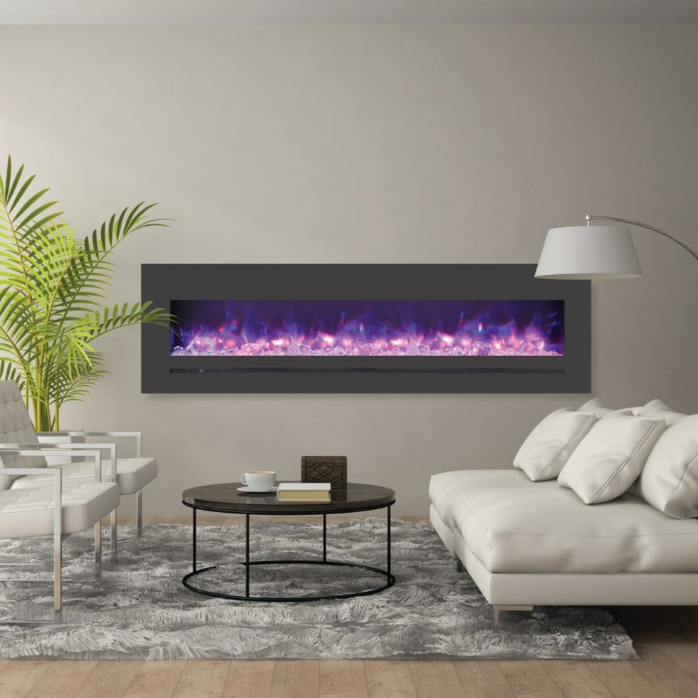 Sierra Flame 72-Inch Wall Mount or Flush Mount Electric Fireplace with Steel Surround | Very Good Fireplaces