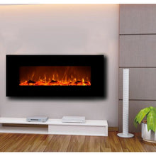 "Load image into Gallery viewer, Touchstone Onyx 50"" Black Wall Mounted Electric Fireplace"