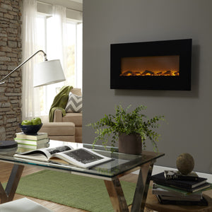 "Touchstone Onyx 50"" Black Frame Wall Mounted Electric Fireplace 
