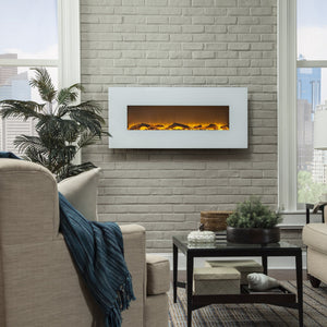 Touchstone Ivory 50-Inch Wall Mounted Electric Fireplace with White Frame in the living room | Very Good Fireplaces