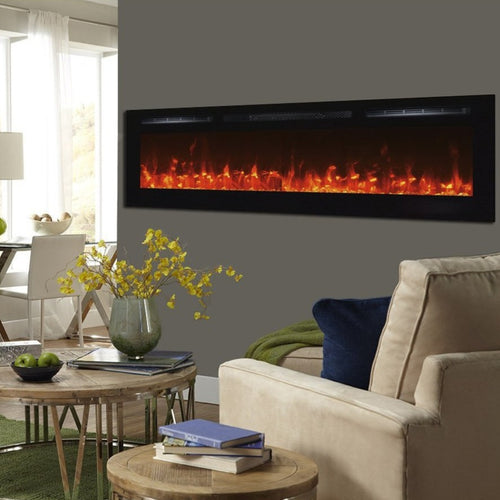 Living Room with Touchstone Sideline 72-Inch Recessed Mounted Black Frame Electric Fireplace | Very Good Fireplaces