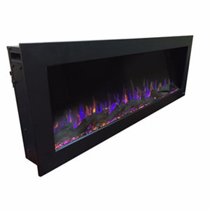 "Side view of a black indoor/outdoor electric fireplace | Touchstone Sideline 50"" Indoor/Outdoor electric fireplace"