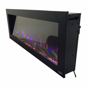 "Side view of a black indoor/outdoor electric fireplace | Touchstone Sideline 50"" Wide."