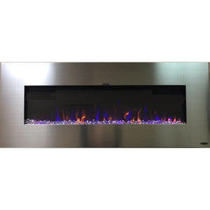 "Touchstone AudioFlare Stainless 50"" Recessed or Mounted Electric Fireplace"