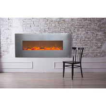 "Load image into Gallery viewer, Touchstone Onyx 50"" Stainless Wall Mounted Electric Fireplace"