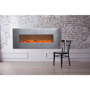 "Touchstone Onyx 50"" Stainless Wall Mounted Electric Fireplace"