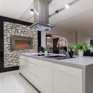 "Stunning kitchen design with Touchstone Onyx Stainless 50"" Wall Mounted Electric Fireplace 