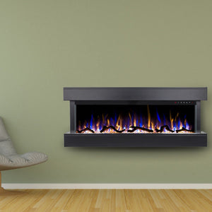 "Minimalist modern green living room design with Touchstone Chesmont 50"" Black Wall Mounted Electric Fireplace"