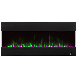 "Flame Color Touchstone Fury 50"" Black Frame Mantel Recessed Mounted Electric Fireplace 80040 