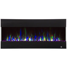"Load image into Gallery viewer, Flame Color Touchstone Fury 50"" Black Frame Mantel Recessed Mounted Electric Fireplace 80040 