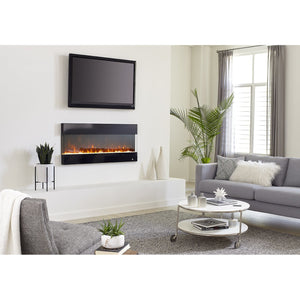"Living Room Touchstone Fury 50"" 3-Sided Mantel Recessed Wall Mount Electric Fireplace 80040 