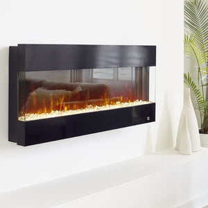 "Touchstone Fury 50"" Black Frame Mantel Recessed Mounted Electric Fireplace 80040 