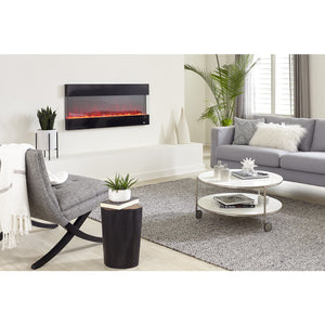 "Living Room Touchstone Fury 50"" Black Frame Mantel Recessed Mounted Electric Fireplace 80040 