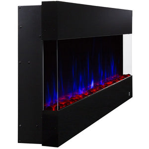 "Touchstone Fury 50"" 3-Sided Mantel Recessed Wall Mount Electric Fireplace 80040 