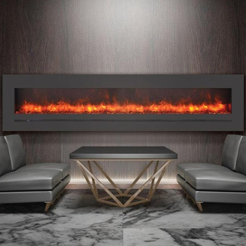 Sierra Flame 88-Inch Wall Mount or Flush Mount Electric Fireplace with Steel Surround | Very Good Fireplaces