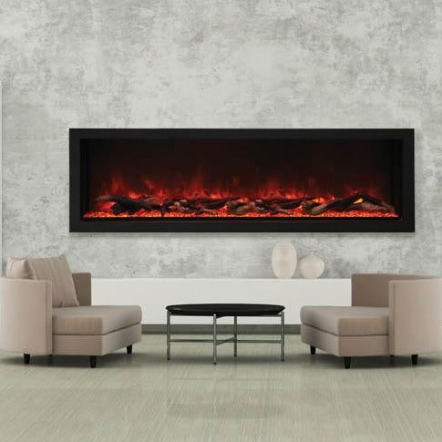 Amantii 72″ Wide - Deep Indoor or Outdoor Built-in Electric Fireplace, beautiful room setting | Very Good Fireplaces.