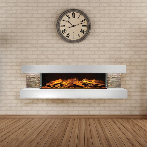 Compton 1000: White Stone Electric Fireplace Suite by European Home | Very Good Fireplaces