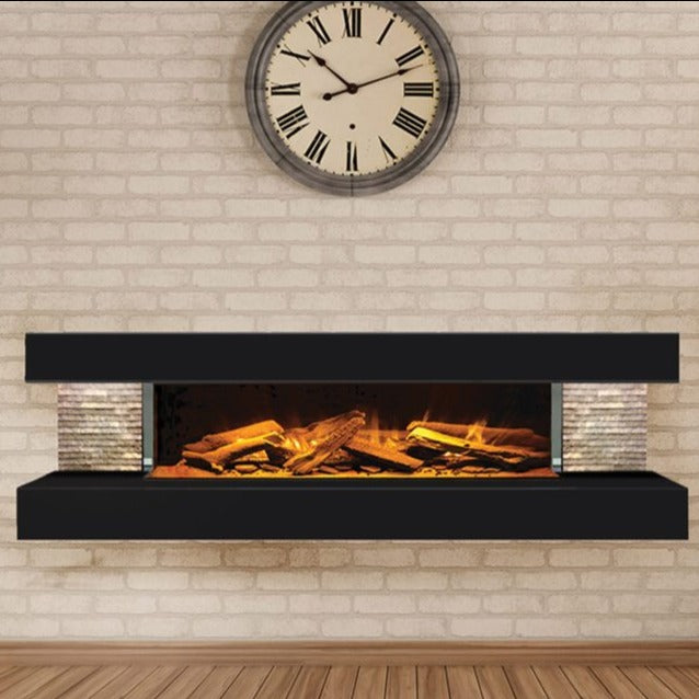 European Home Modern Electric Fireplace Compton 1000 in Black  | Very Good Fireplaces