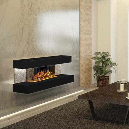 Compton 2: Black Electric Fireplace Suite by European Home